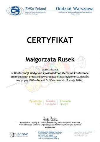 Konferencja Medycyna żywienia 08.05.2016
