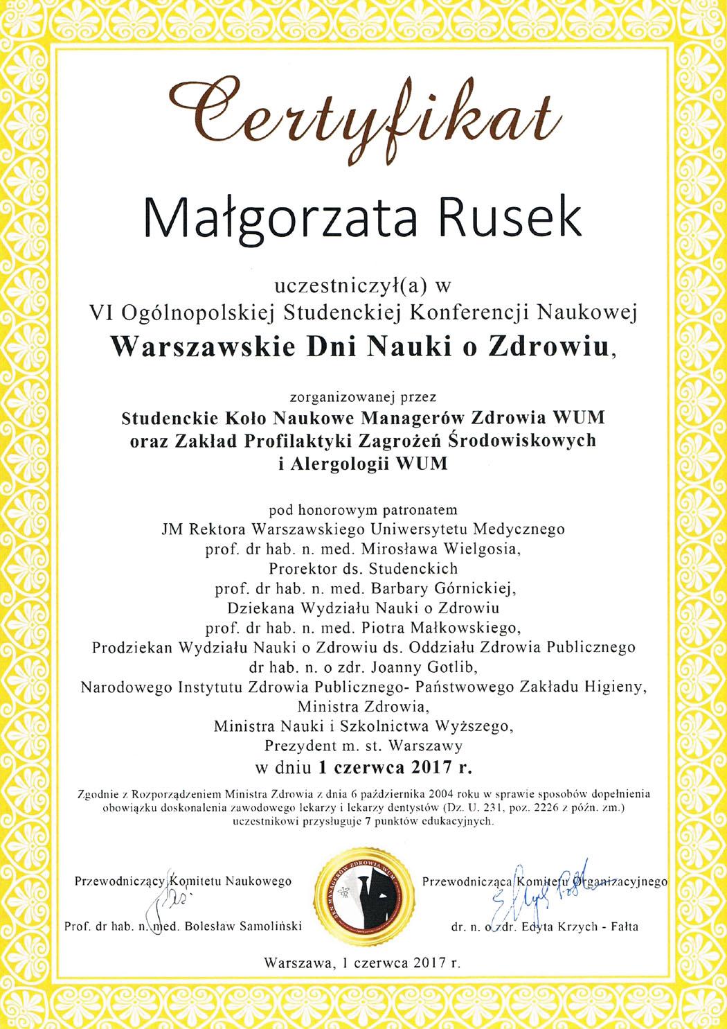 Warszawskie Dni Nauki oZdrowiu 01.06.2017
